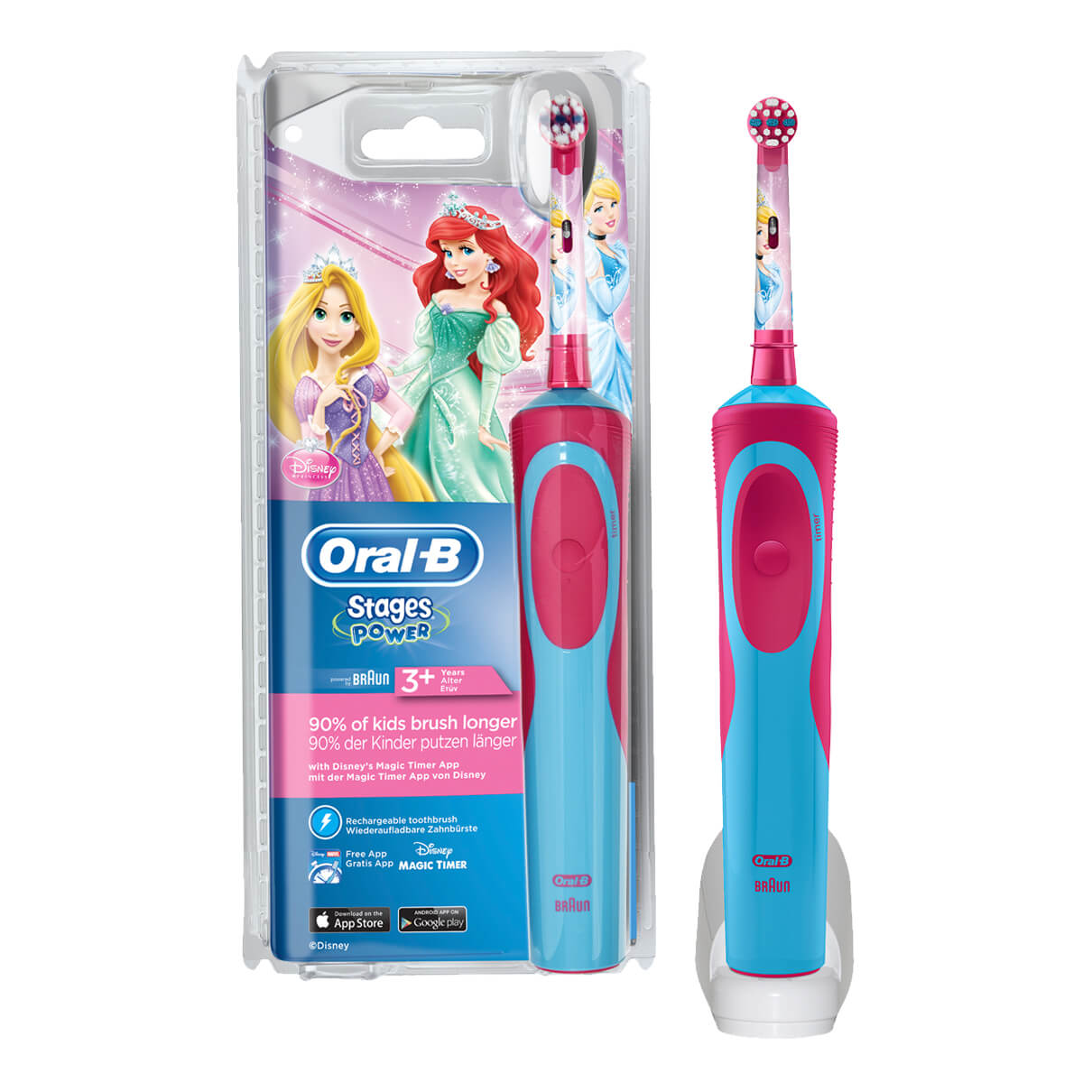 Oral-B Stages Power Kids Rechargeable Electric Toothbrush featuring Disney Princesses