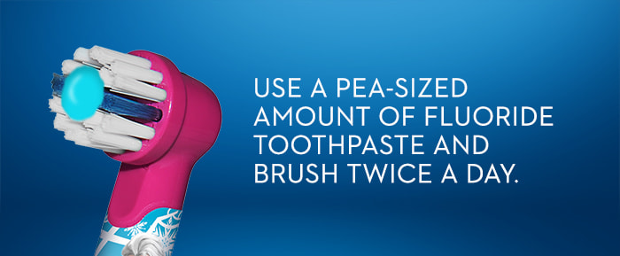 USE A PEA-SIZED AMOUNT OF FLUORIDE  TOOTHPASTE AND BRUSH TWICE A DAY