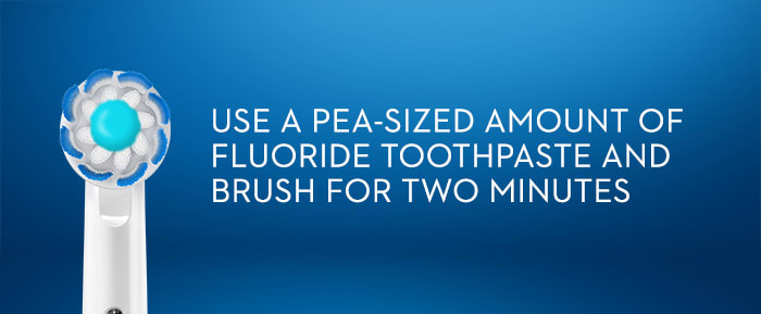 USEA PEA-SIZED  AMOUNT OF FLUORIDE  TOOTHPASTE AND BRUSH FOR TWO MINUTES