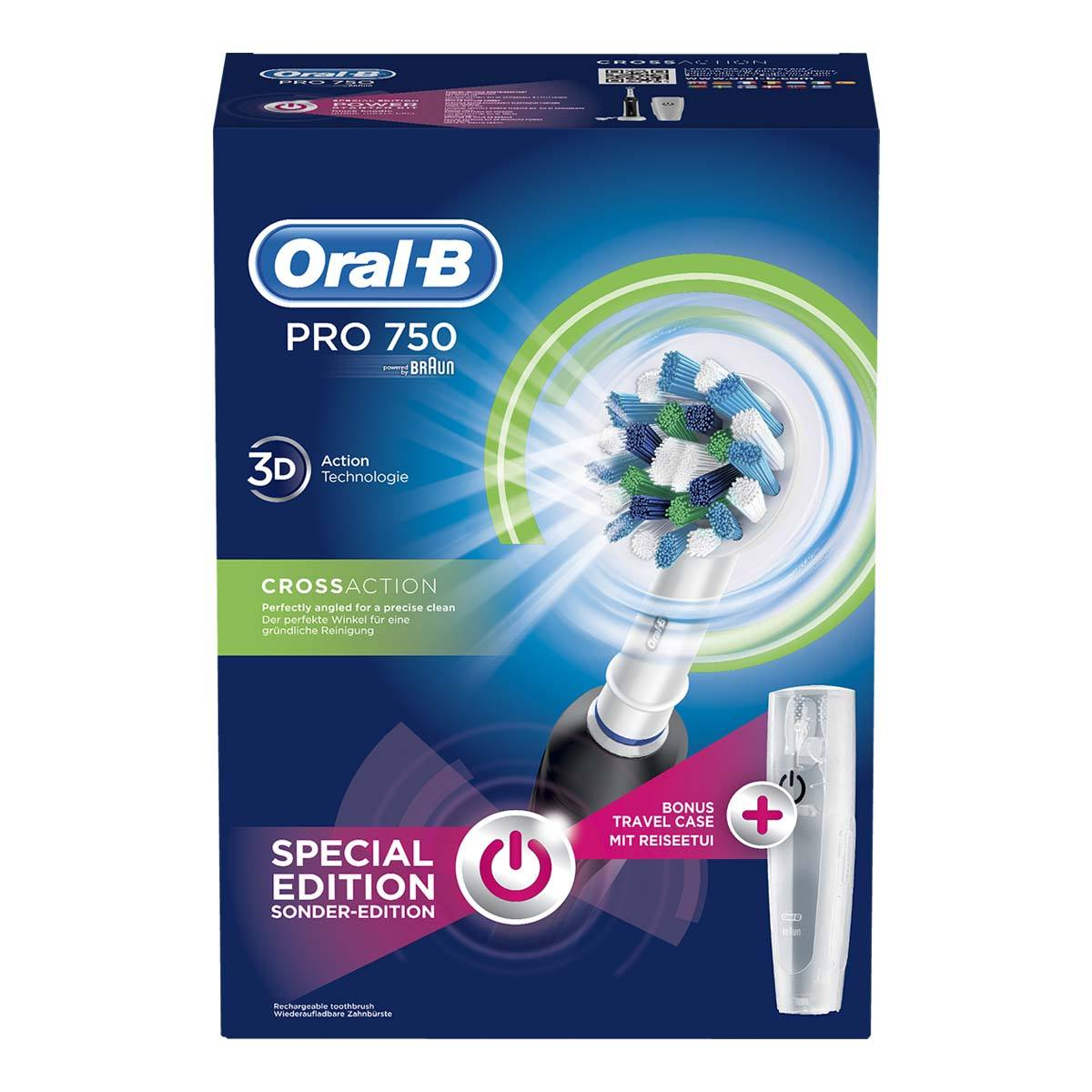 Oral-B Pro 750 Black CrossAction eltandborste (bonusförpackning)