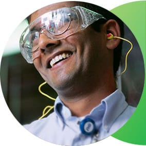 Man with work goggles