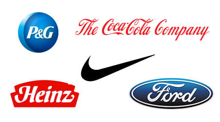 A collage of P&G, Coca-Cola, Nike, Heinz and Ford logos