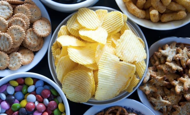 Candy, chips and nuts are great care package ideas