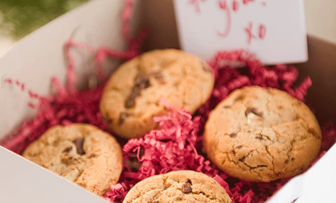 A box of cookies are perfect for that college care package idea