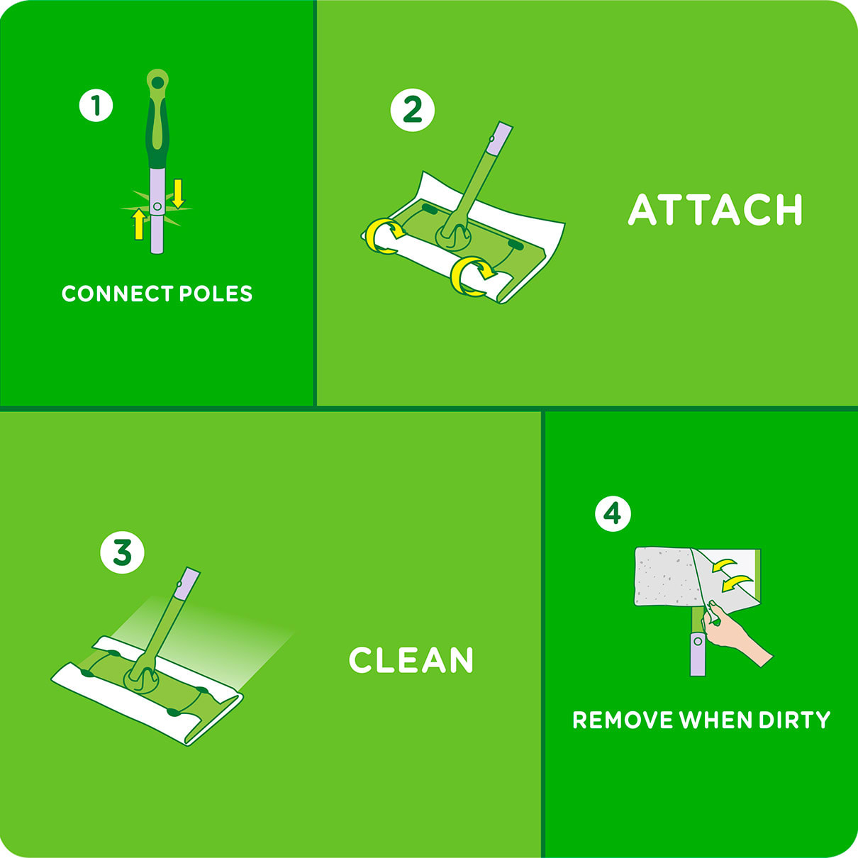 Swiffer Sweeper Instructions Connect Poles, Attach, Clean, Remove When Dirty
