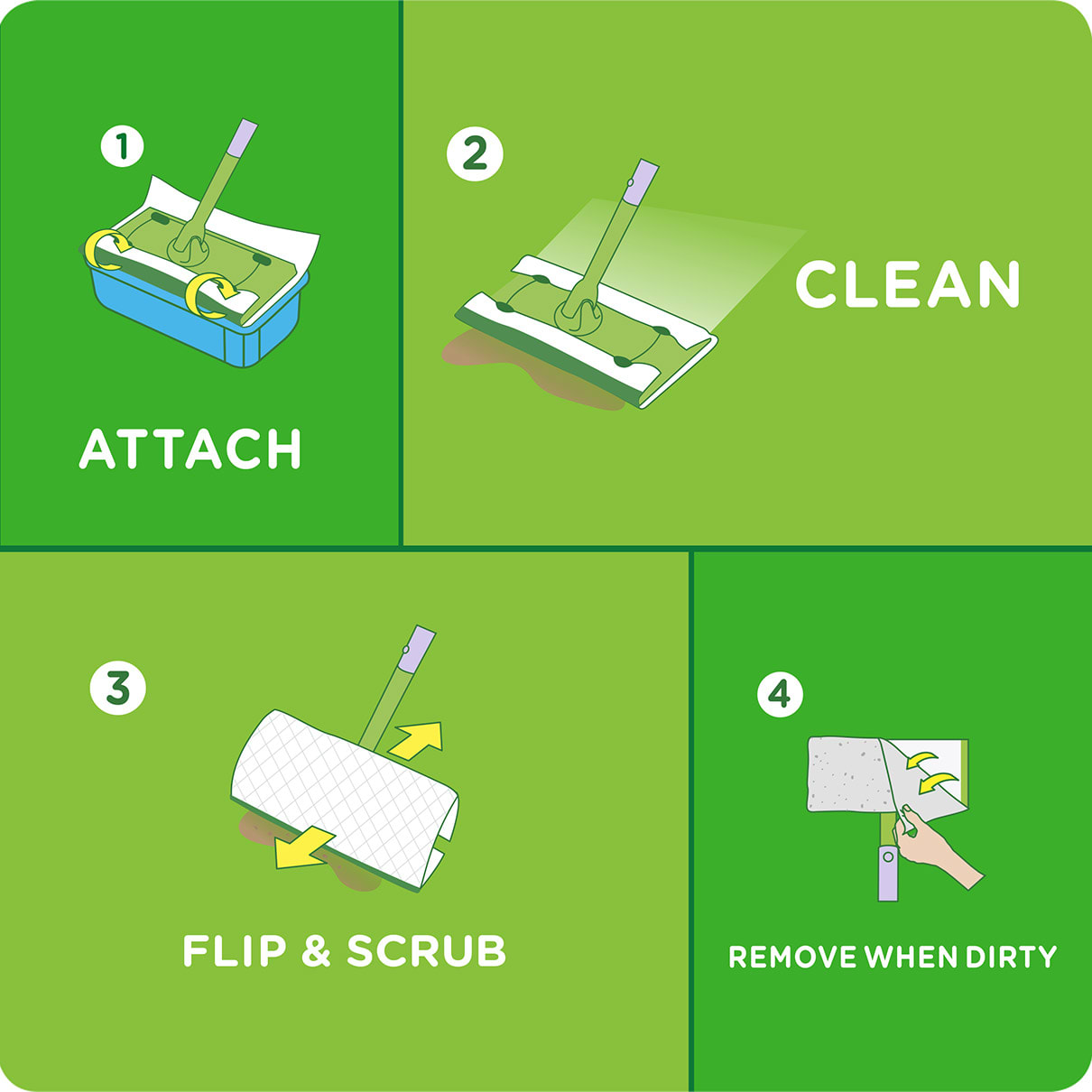 Swiffer Sweeper Instructions Attach, Clean, Flip & Scrub, Remove When Dirty