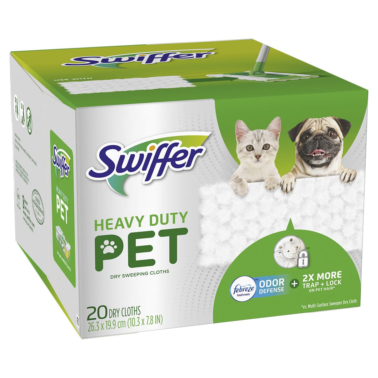 Swiffer Heavy Duty Pet Dry Sweeping Cloth Refills with Febreze Odor Defense