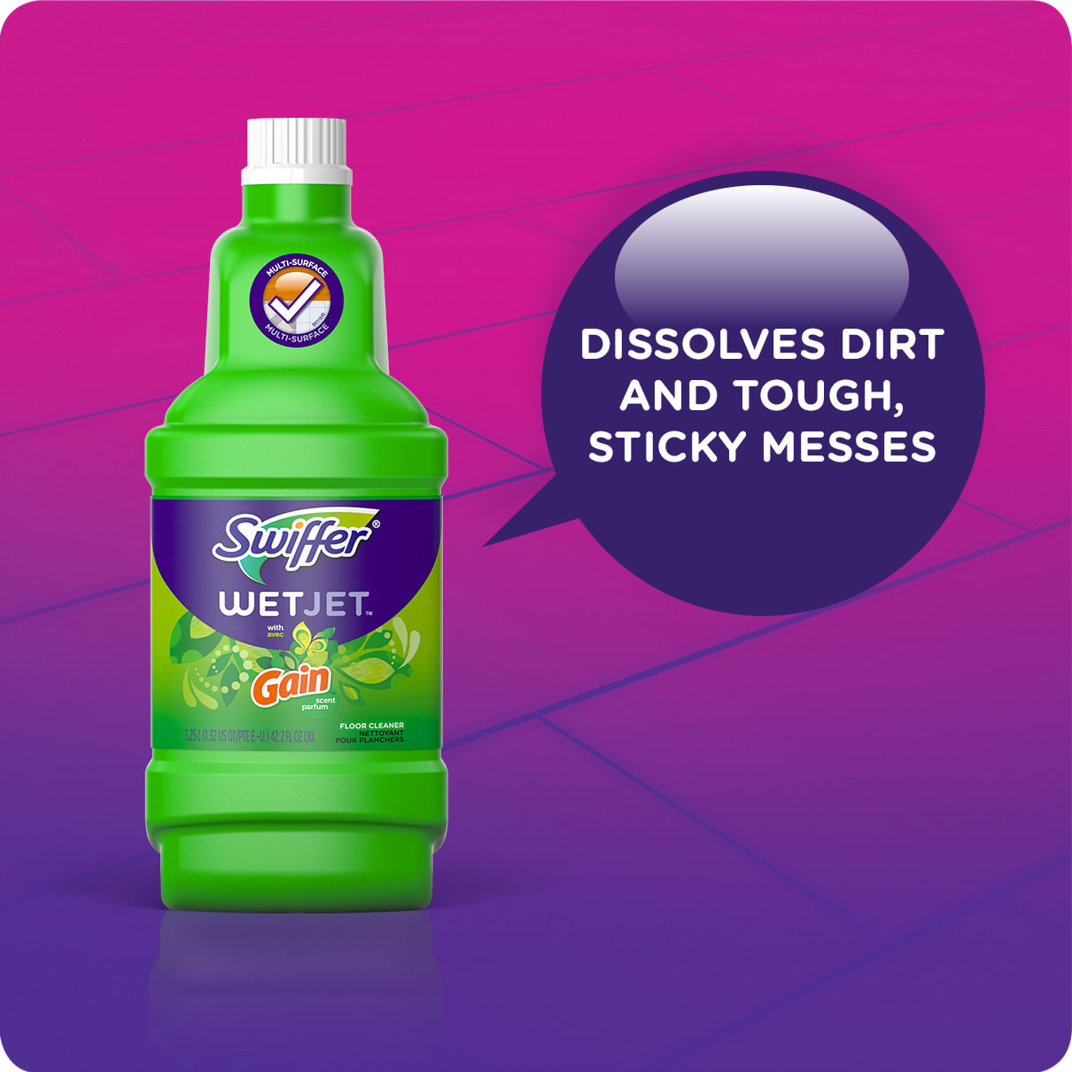 Swiffer WetJet Solution Refills Gain Dissolves Dirt and Sticky Messes