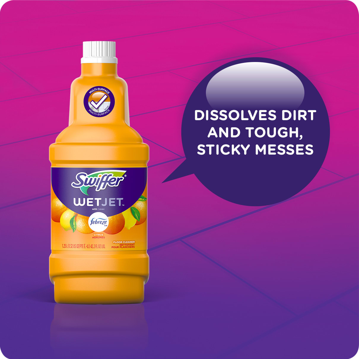 Swiffer WetJet Solution Refills Sweet Citrus Dissolves Dirt and Sticky Messes
