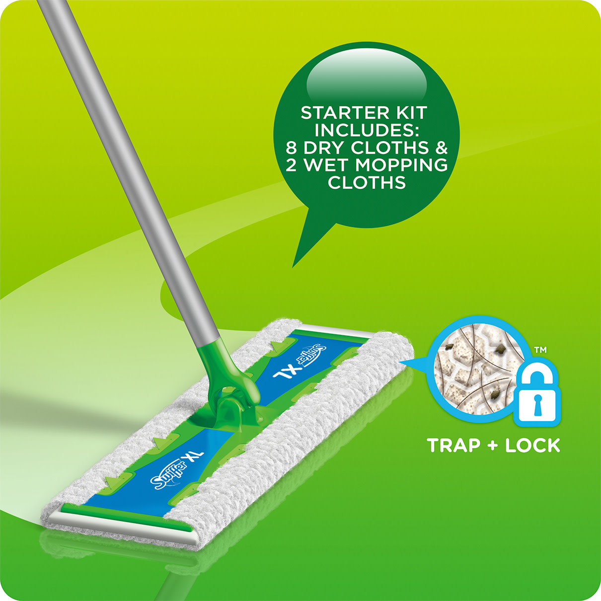 Swiffer Sweeper XL Starter Kit Includes 8 Dry & 2 Wet Cloths