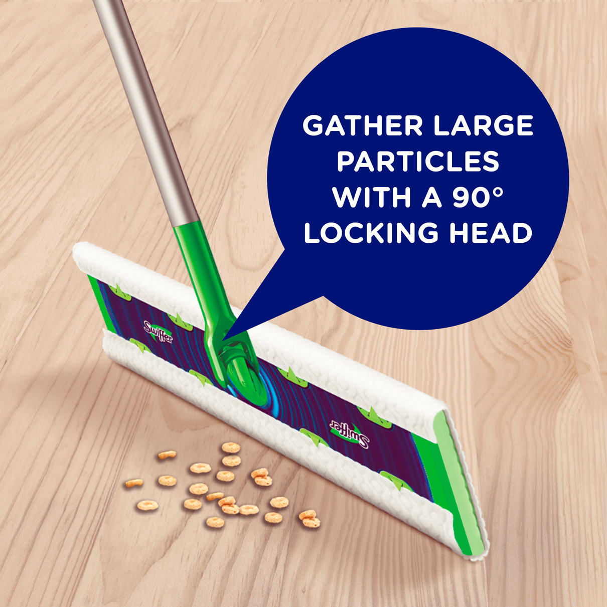 Swiffer Sweeper XL Gathers Large Particles with a 90° Locking Head