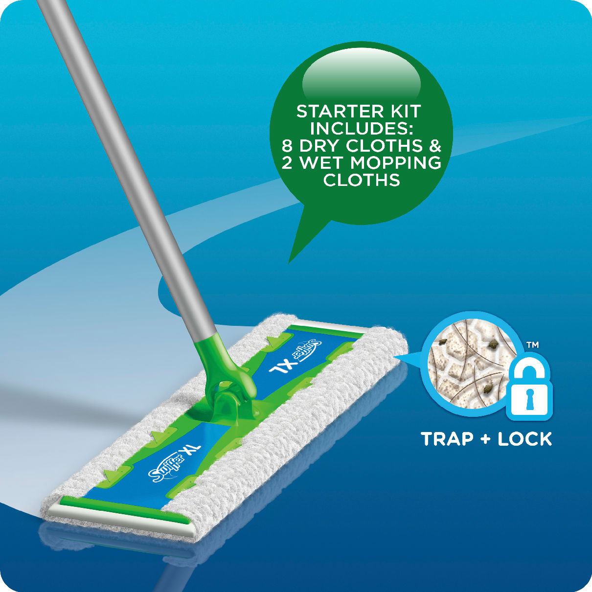Swiffer Sweeper XL Starter Kit Includes 8 Dry Cloths & 2 Wet Mopping Cloths