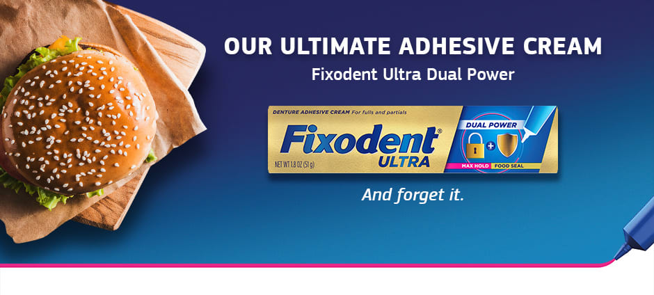 Fixodent Ultra Dual Power - Our Ultimate Adhesive Cream in gold packaging.