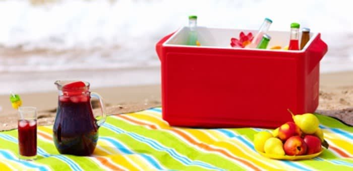 A close up of a picnic blanket and picnic box on the beach belonging to denture wearers who know that life with dentures can still be delicious thanks to Fixodent.