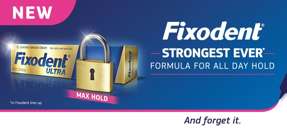 Banner for Fixodent Ultra Max Hold Premium Denture Adhesive - Strongest ever formula for all day hold showing golden pack and a lock
