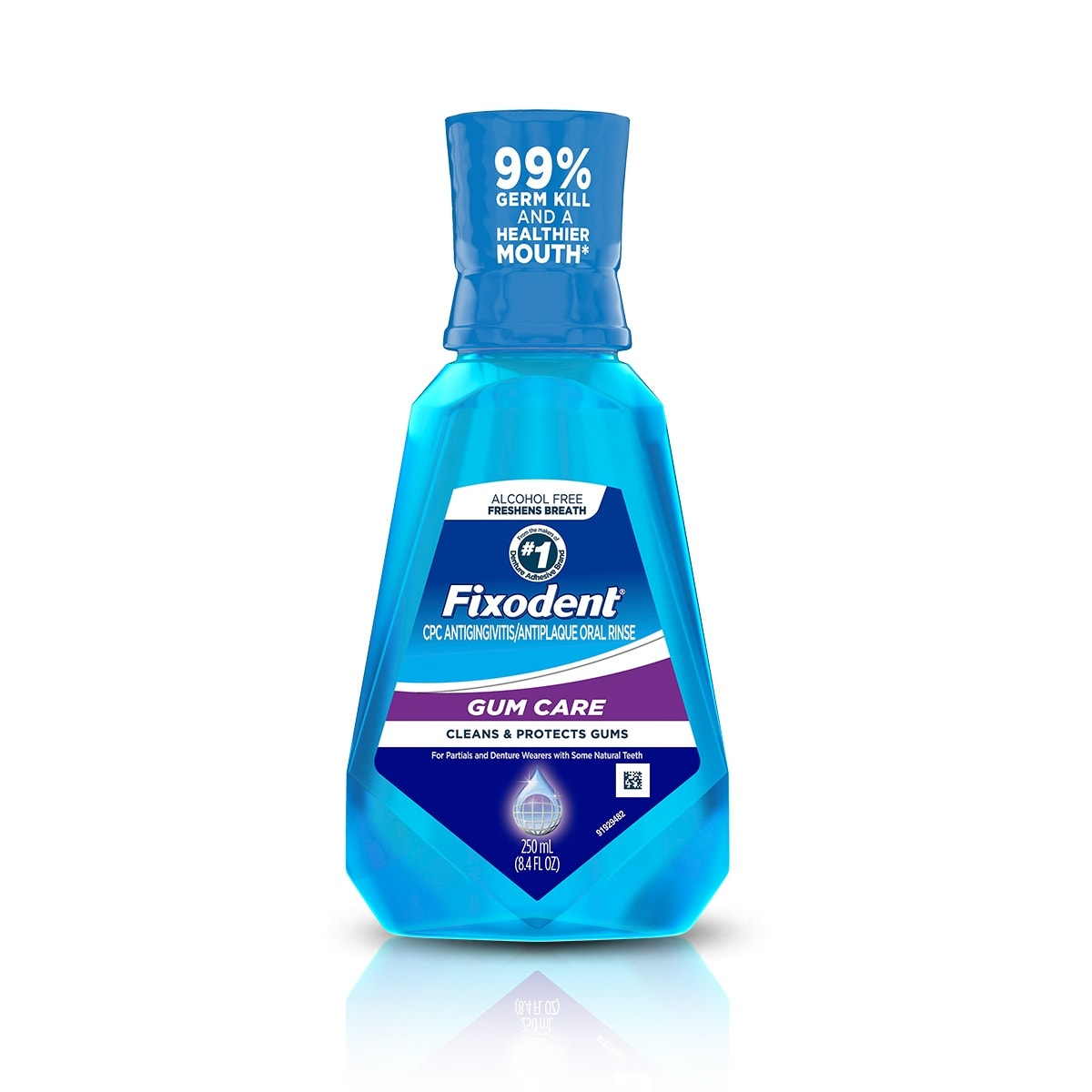 A packshot of the blue bottle of Fixodent gum care mouthwash to care and protect for gums of full and partial denture wearers.