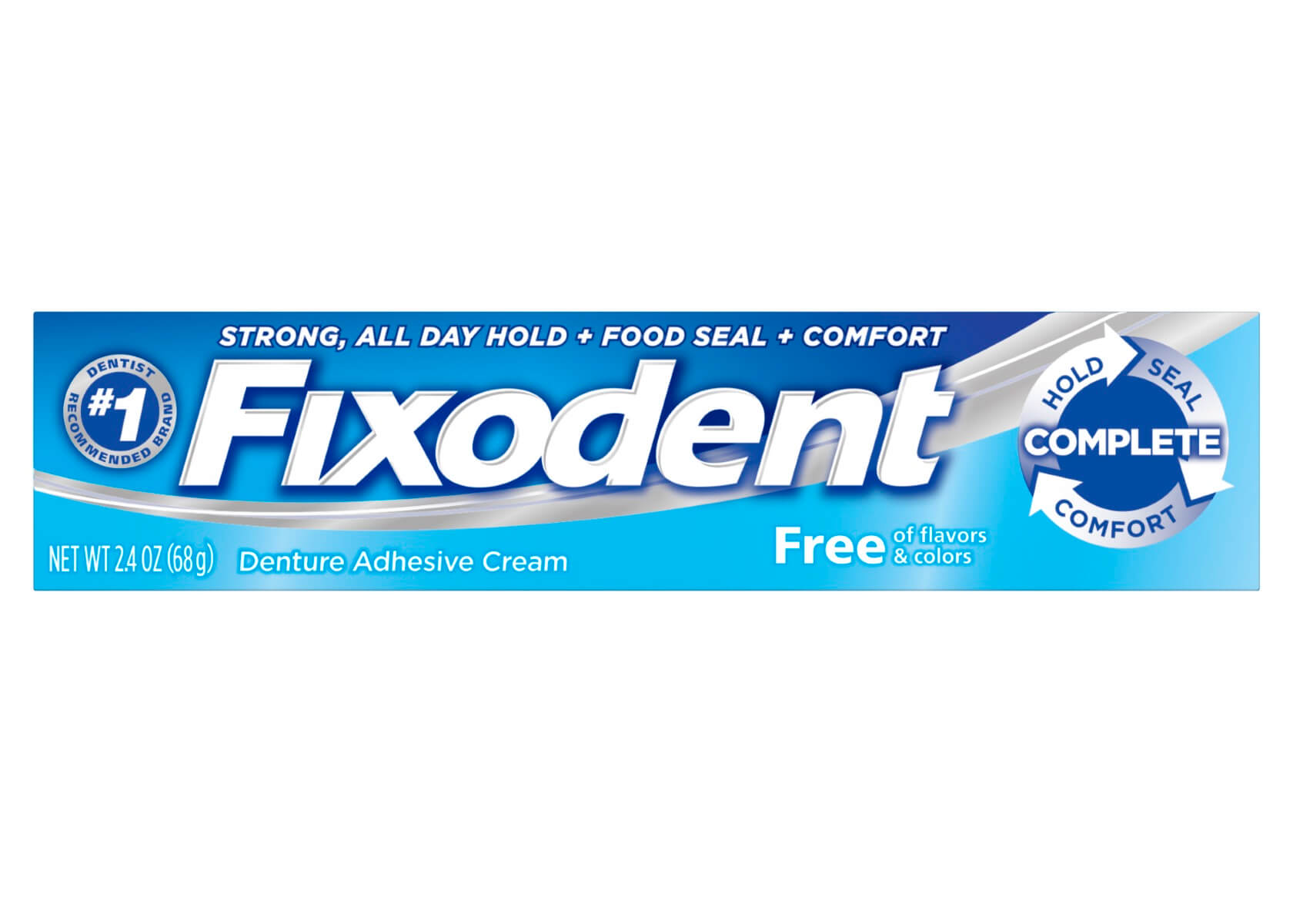 Packshot of the Fixodent Complete Free denture adhesive, with dark blue and light blue packaging.