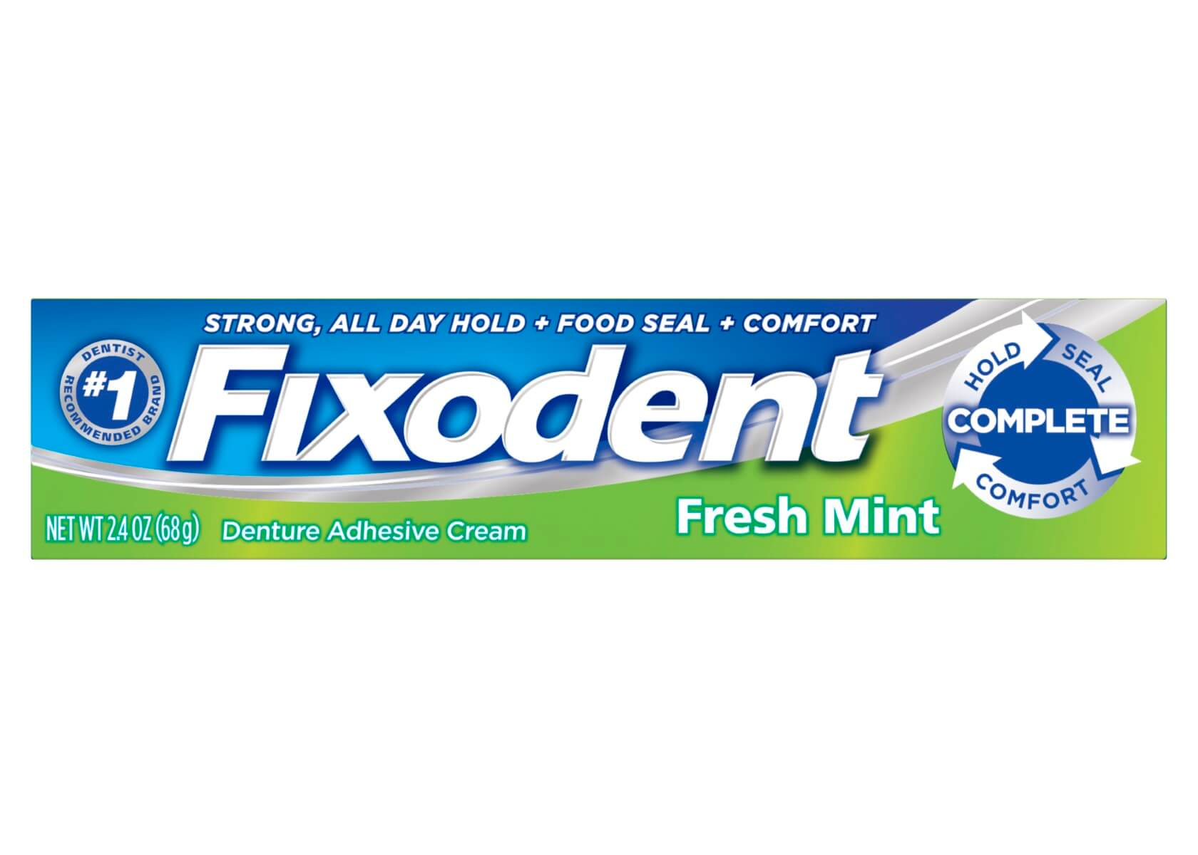 Packshot of the Fixodent Complete Fresh Mint denture adhesive, with dark blue and green packaging.