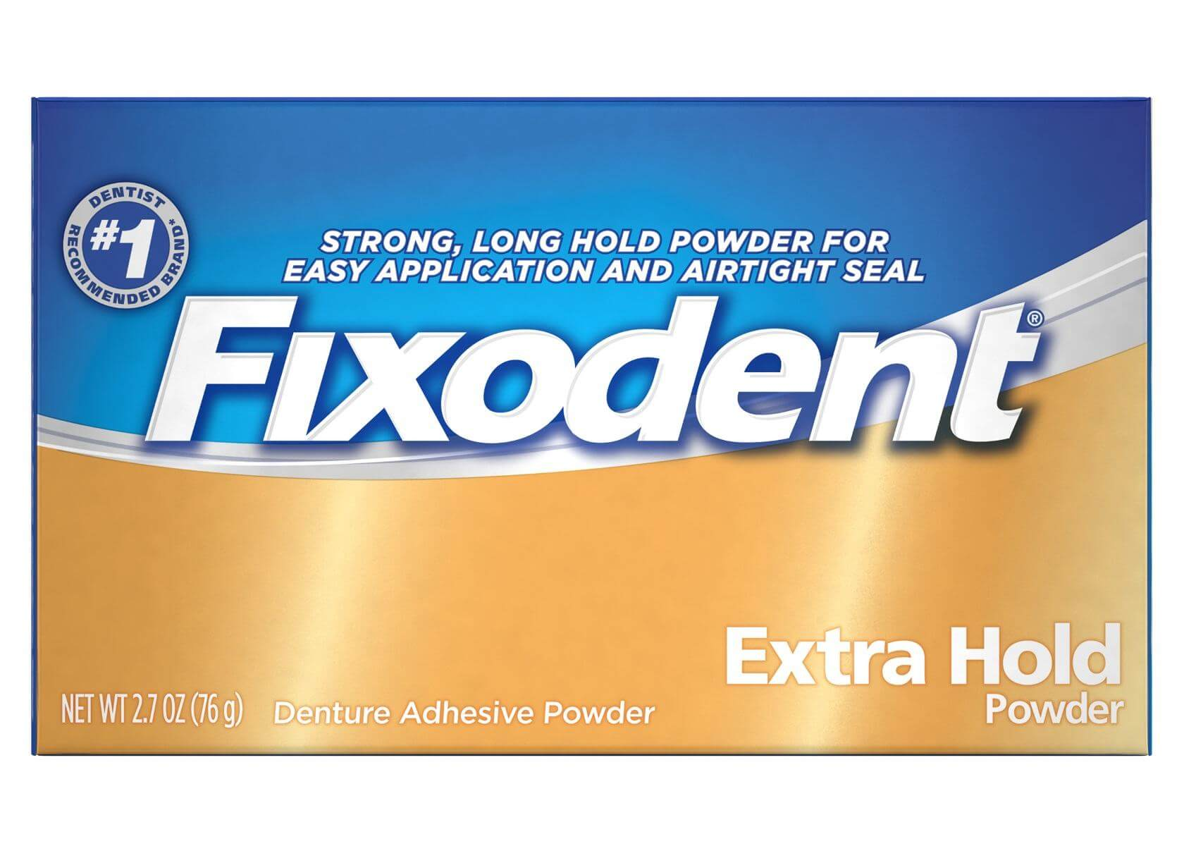 "A close up of the Fixodent Extra Hold packaging with blue and gold background and white text saying ""Strong, long hold powder for easy application and airtight seal - Fixodent - Extra Hold Powder."""