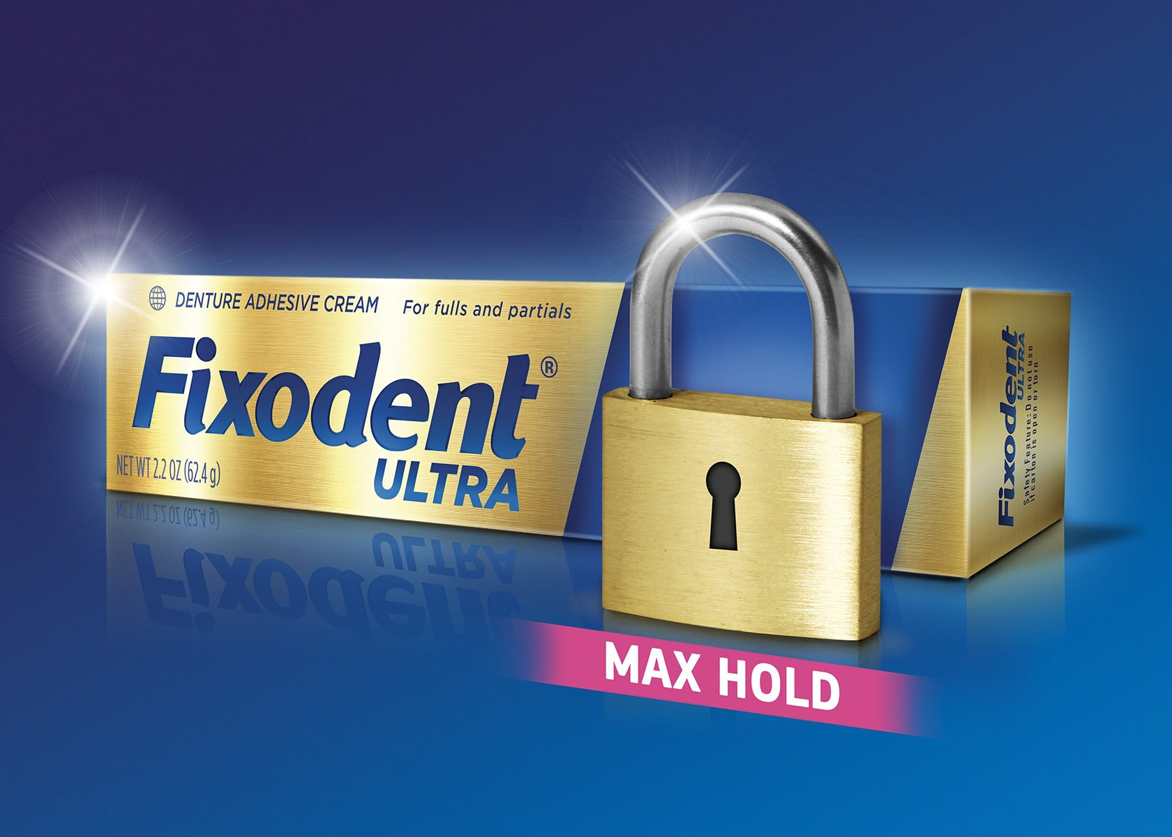 A graphic showing the gold and blue packaging of Fixodent Ultra Max Hold demtire adhesive with detail in the golden lock representing the Max Hold power.