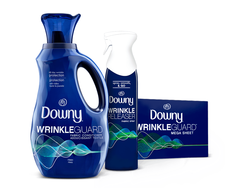 Downy Wrinkle Guard Liquid fabric conditioner, dryer sheets and scent beads