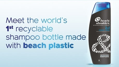 THE WORLD'S FIRST RECYCLABLE SHAMPOO BOTTLE MADE FROM BEACH PLASTIC