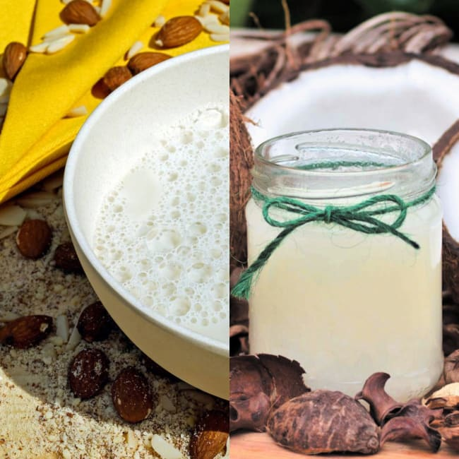 Almond milk and coconut oil hair mask treatment