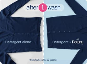 with Detergent Alone - dramatization | with Downy Fabric Conditioner - after 30 seconds