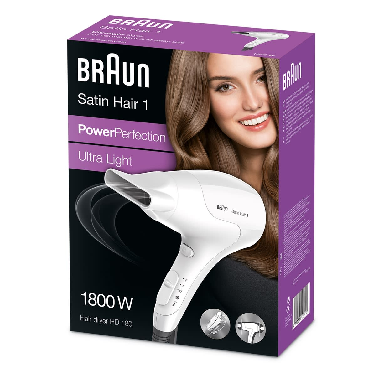 Satin Hair 1 HD 180 Power Perfection Haartrockner Verpackung