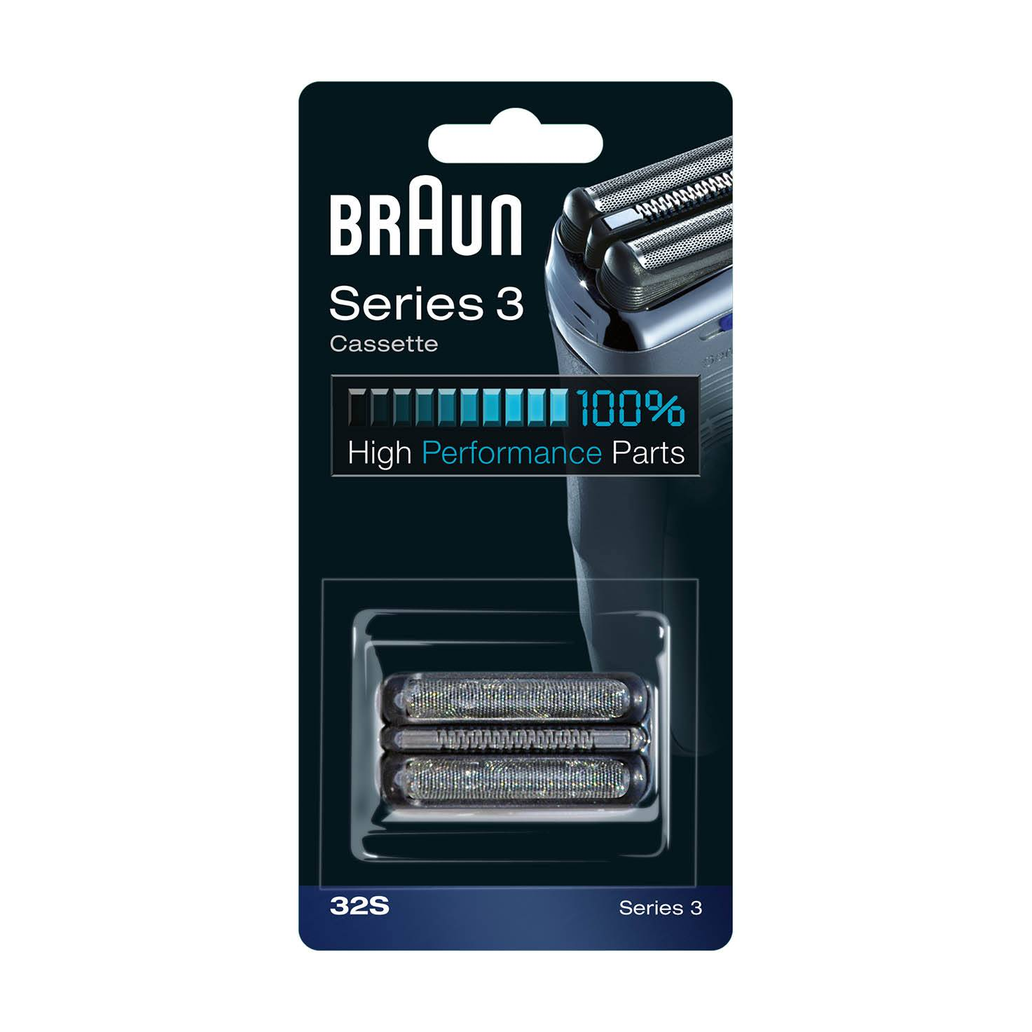 Braun Series 3 Replacement Head 32S, Silver, 1 Count