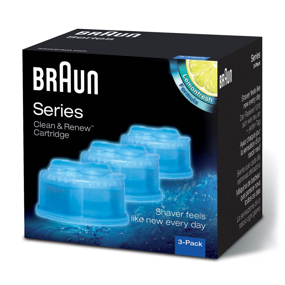 Braun Clean & Charge refills 3 Pack - packaging