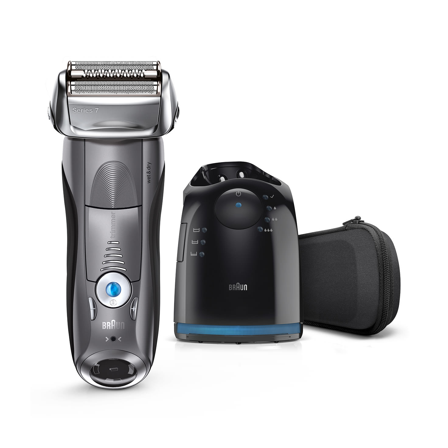 Braun Series 7 grey electric shaver with Clean&Charge Station