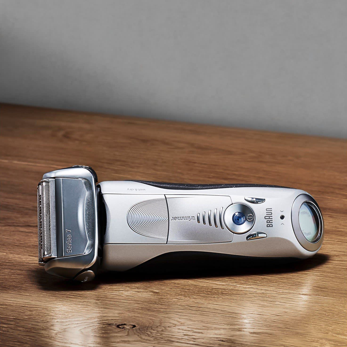 Braun Series 7 silver electric shaver lifestyle