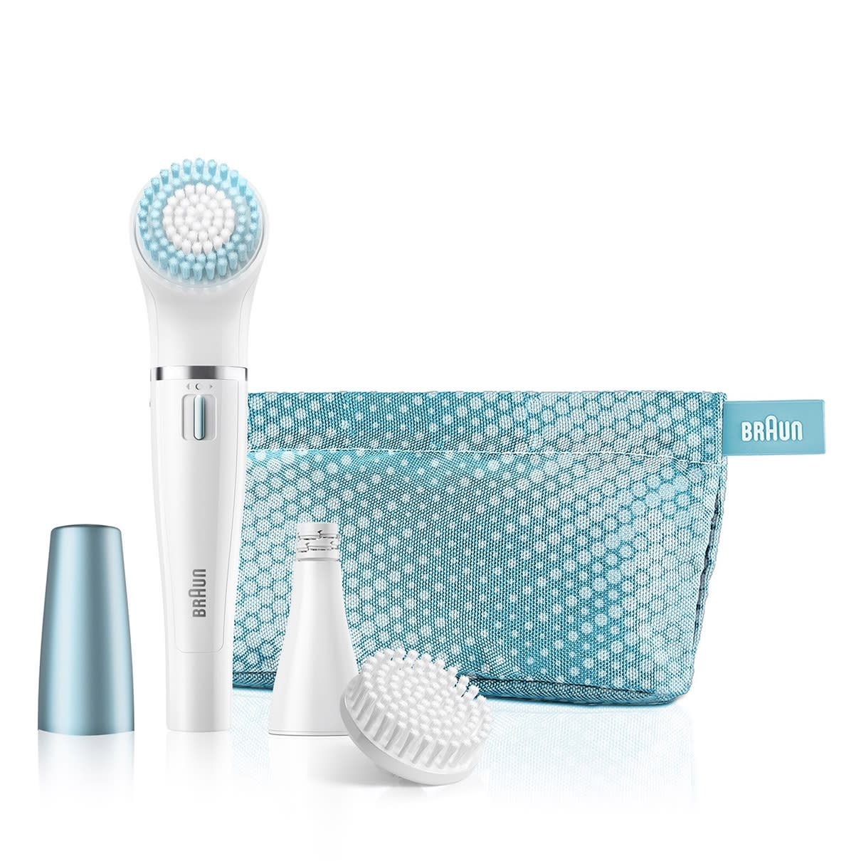 Braun Face 820 Premium Edition - facial epilator & facial cleansing brush with micro-oscillations - including a lighted mirror and beauty pouch