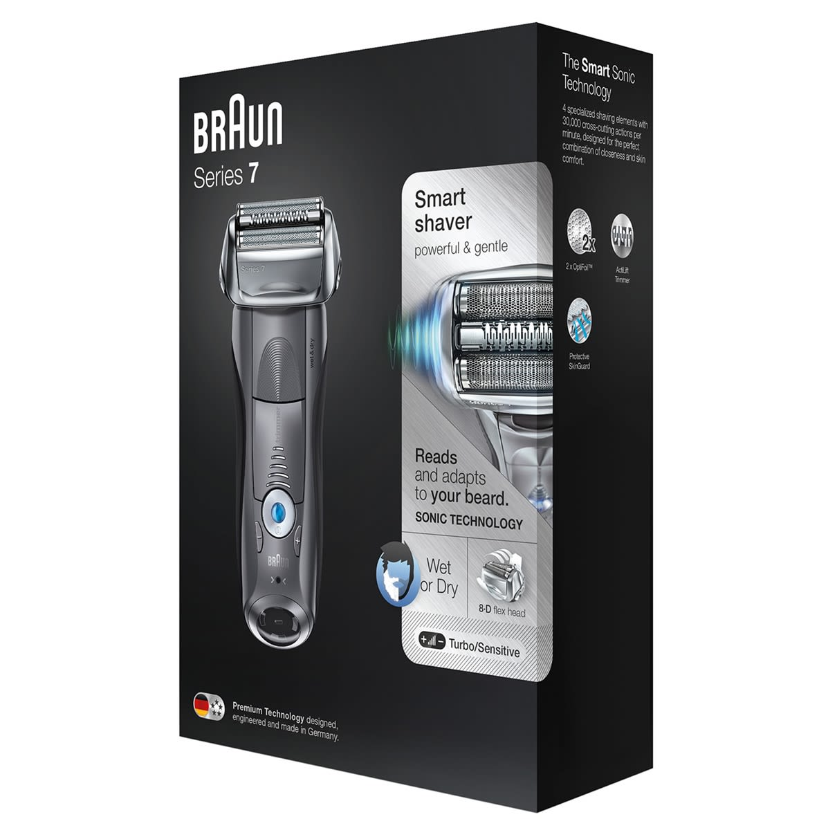 Braun Series 7 grey electric shaver packaging