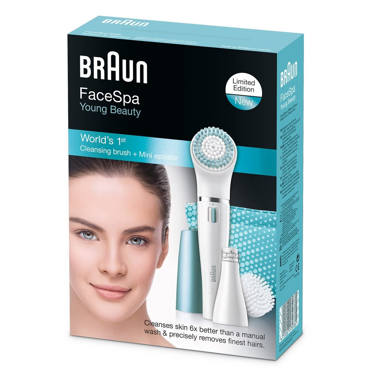Braun Face 832e Premium Edition - facial epilator & facial cleansing brush with micro-oscillations - including a lighted mirror and beauty pouch