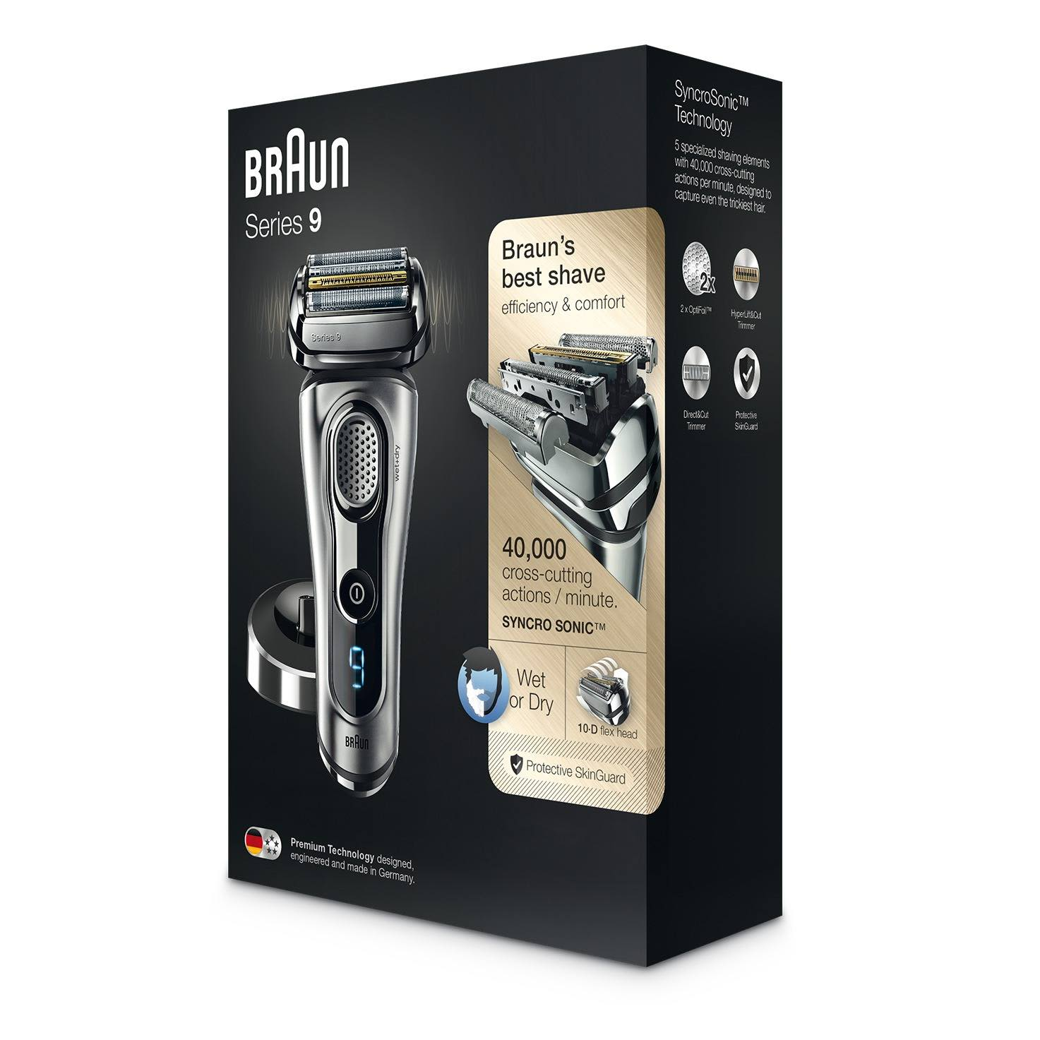 Braun Series 9 silver electric shaver packaging