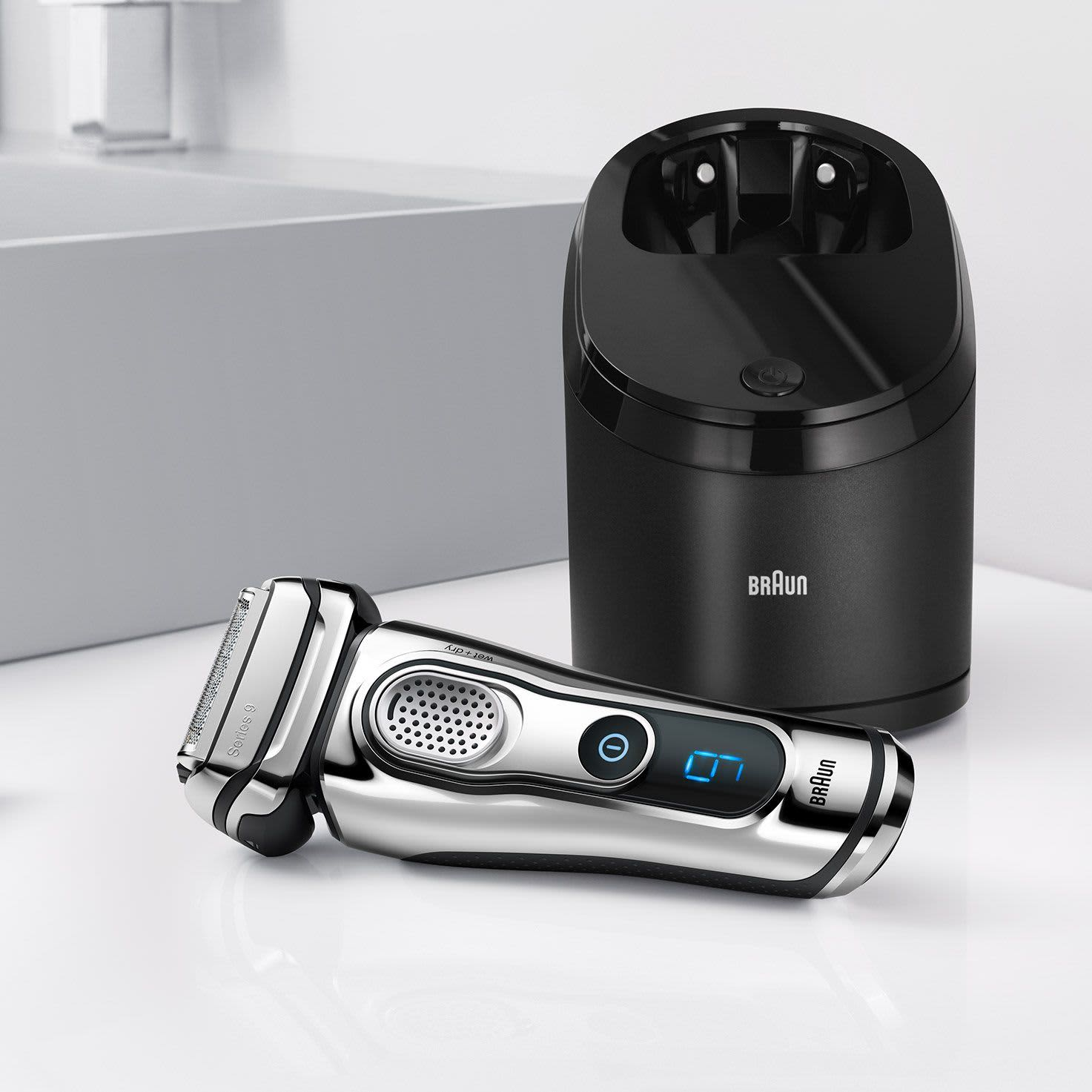 Braun Series 9 chrome electric shaver with Clean & Charge Station
