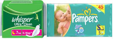 whisper and pampers