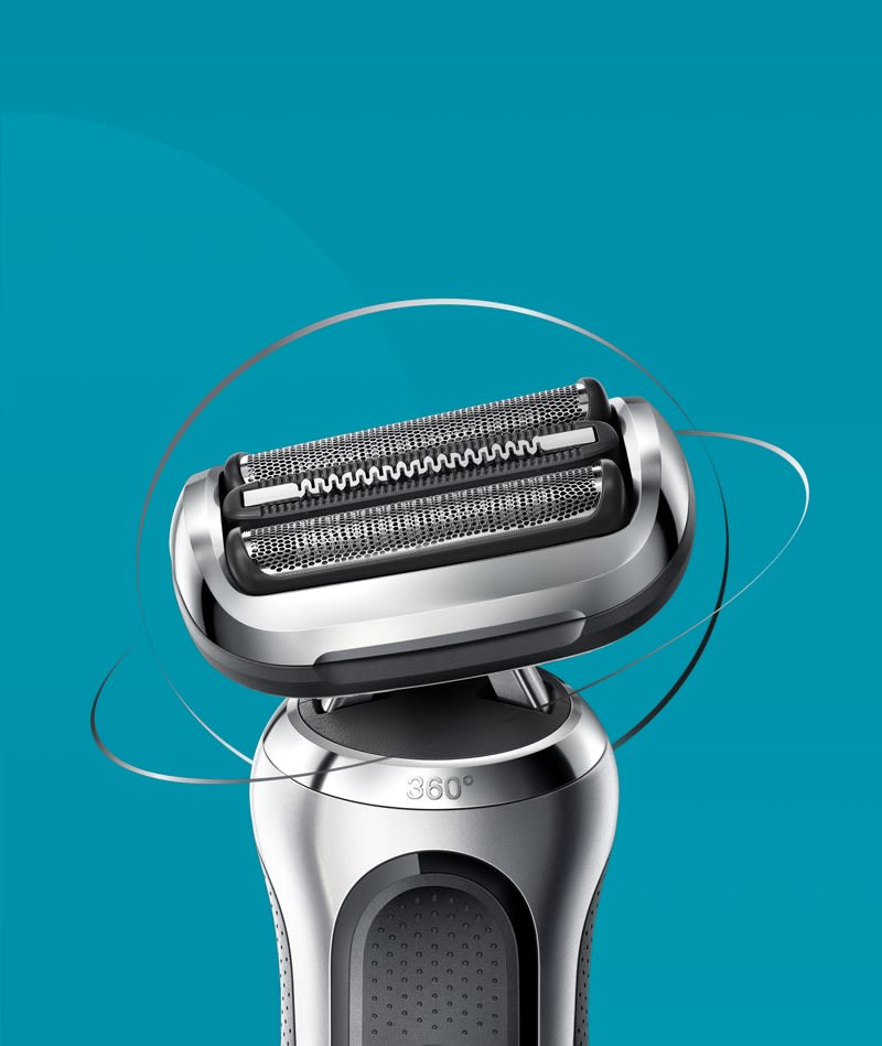 360° adaptation for a smooth shave, even in tricky areas.