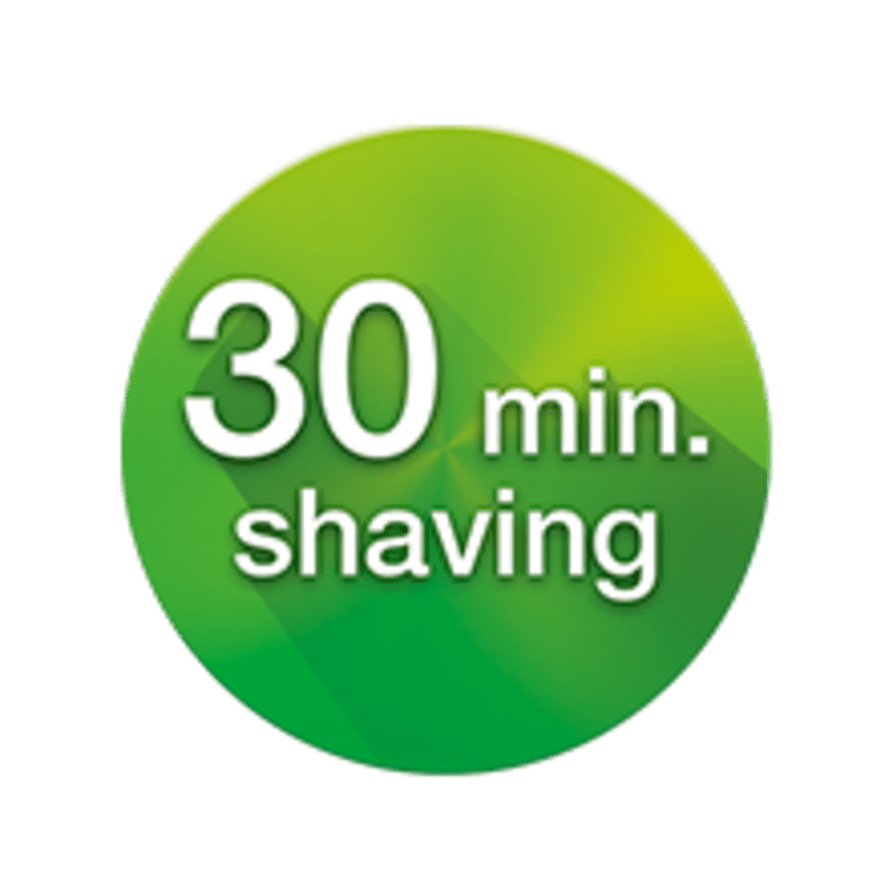 Full charge in 1 hour for 30 min. of shaving time