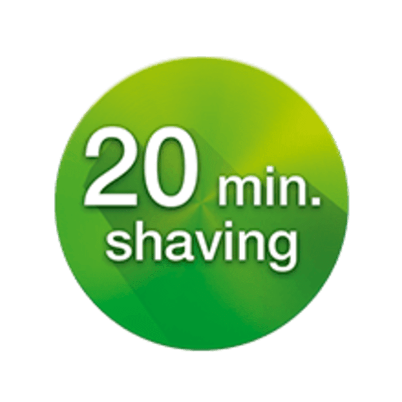 Full charge in 1 hour for 20 min. of shaving time