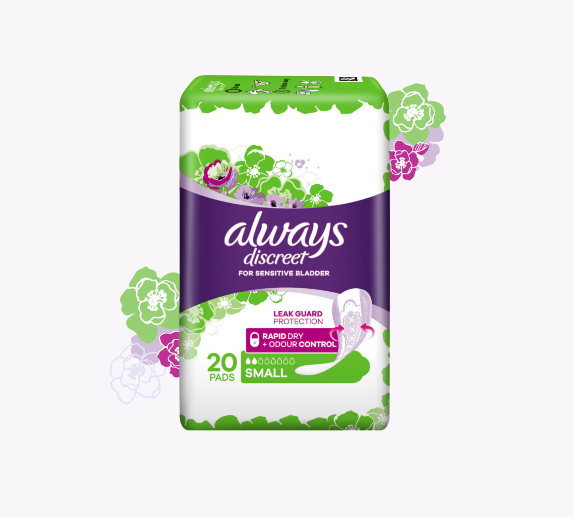 A packet of twenty Always Discreet adult incontinence pads in size small