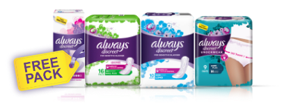 Image offering a free pack of incontinence liners, incontinence pads or incontinence underwear to users