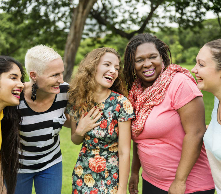 Women laughing in the park