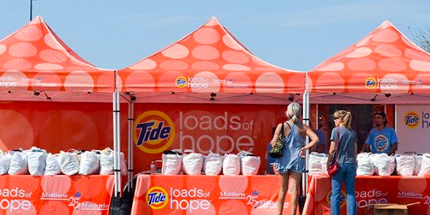 Tide Loads of Hope we provide detergent for 25,000 days of clean clothes to people in need