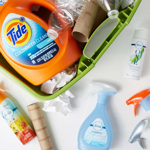 Recycle bin of P&G products