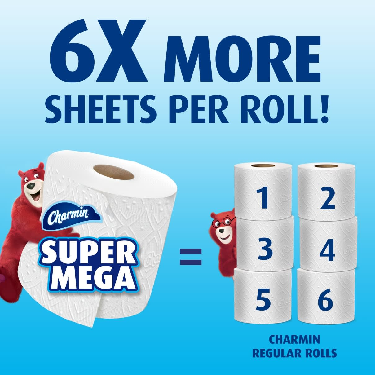 Get 6X more sheets per roll with ultra strong super mega roll