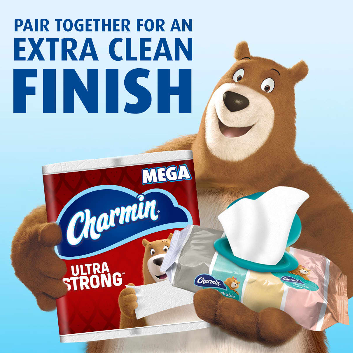 Charmin Flushable Wipes and toilet paper clean better together