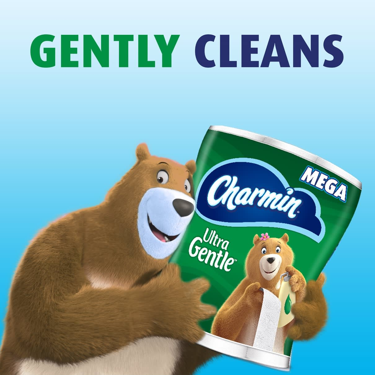 Cleans gently with ultra gentle toilet paper